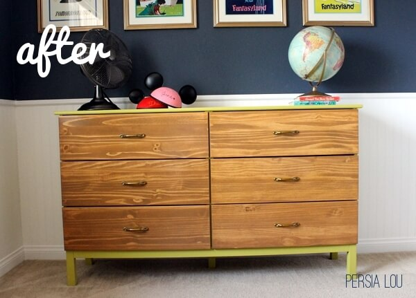 Diy ikea tarva dresser Dresser Makeover Annnnnd Theres The After Have Mentioned Really Like It Persia Lou Ikea Tarva Hack Vintage Disneyland Room Dresser Persia Lou
