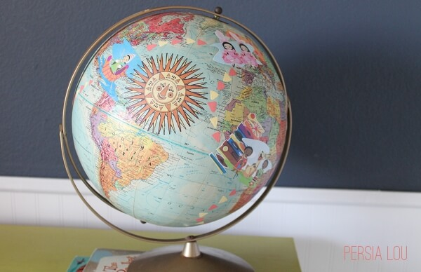 Small World Decoupage Globe (Vintage Disneyland Room)