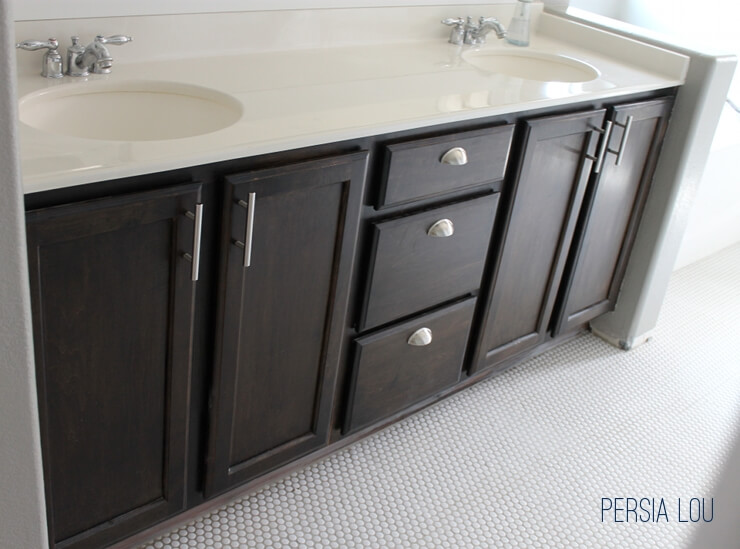 Staining And Updating Bathroom Cabinets Persia Lou - Staining bathroom cabinets