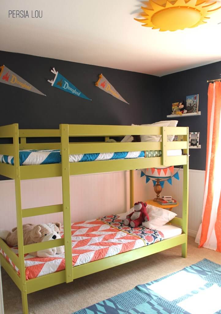 Small shared boy and girl 39 s bedroom vintage disneyland room reveal persia lou - Boy and girl shared room ideas bunk bed ...