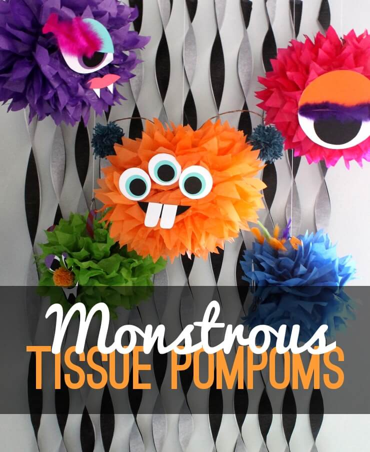 tissue paper pompoms are one of my gotos for inexpensive simple party decorations with big impact i wanted a halloween version of a tissue pom pom