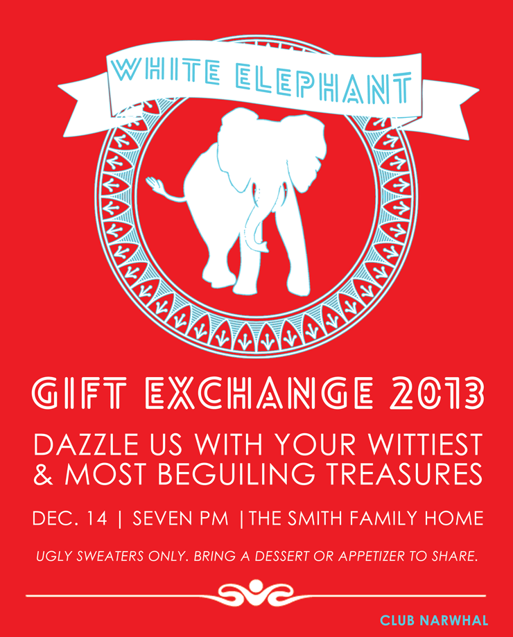 White Elephant Gift Exchange Free Printable Invitation Persia Lou