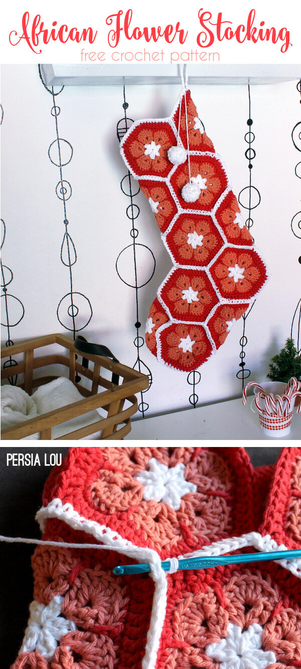 African Flower Crochet Stocking: Free Tutorial - Persia Lou