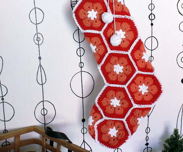 African Flower Crochet Stocking: Free Tutorial