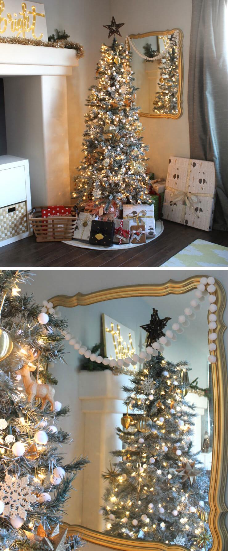 gold woodland rustic winter Christmas tree