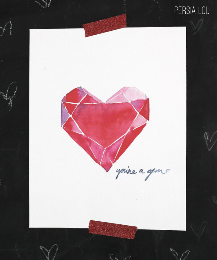 You're a Gem Free Valentine's Watercolor Printables
