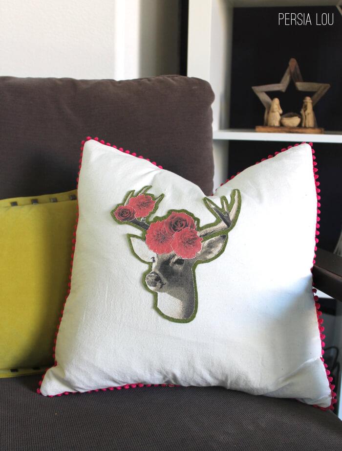Deer Applique Envelope Pillow