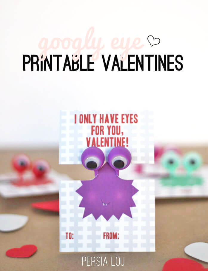 image about Printable Googly Eyes titled Totally free Printable Googly Eye Valentines - Persia Lou