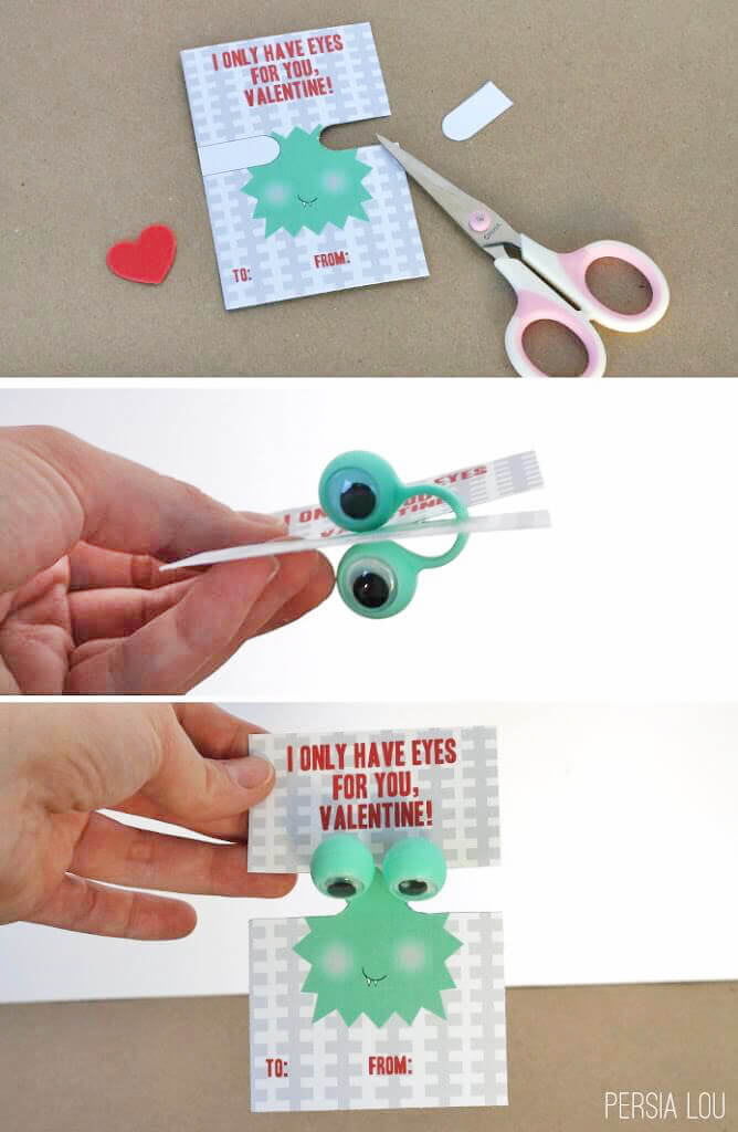 how to assemble printable googly eye valentines