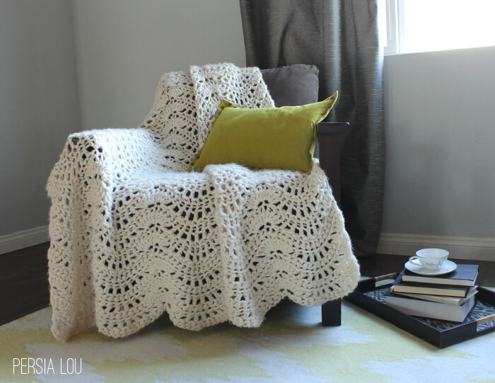 Chunky Feather And Fan Crochet Blanket Free Pattern Persia Lou