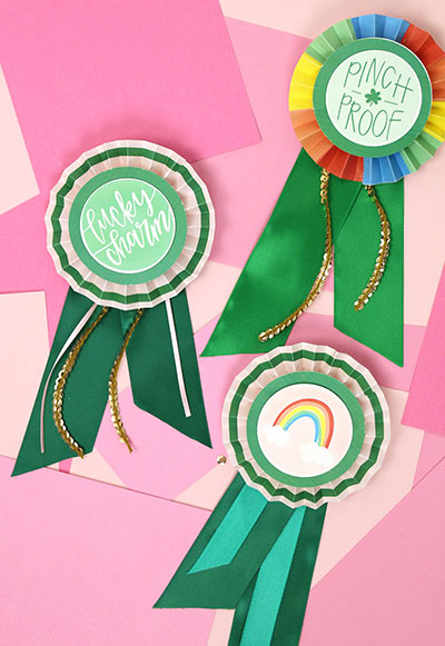 st patrick's day craft ideas diy rosette ribbons with printables