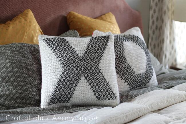 Crochet and Cross-Stitch XO Pillows