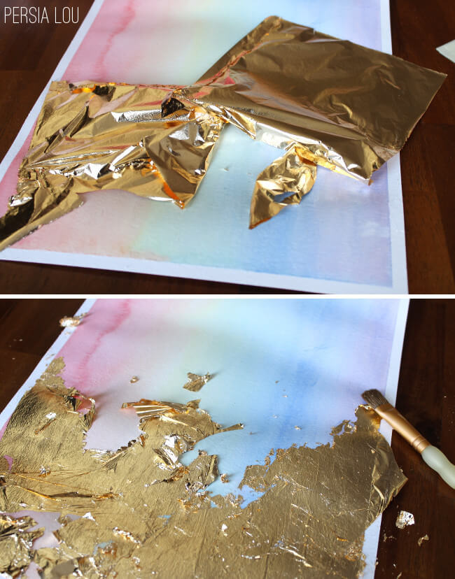 Gilded watercolor artwork tutorial persia lou for How to prepare metal for painting