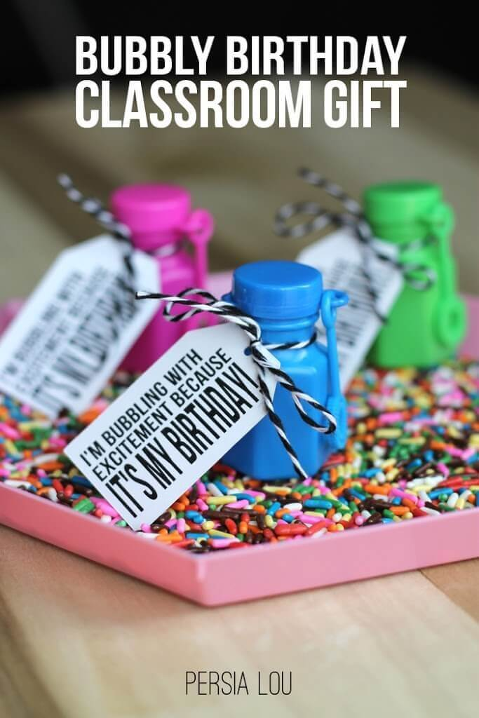 Bubbly Birthday Classroom Gifts with Free Printable and Cut File