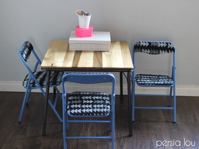 super simple kids table set makeover