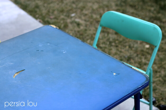 vinyl table - kids table set makeover