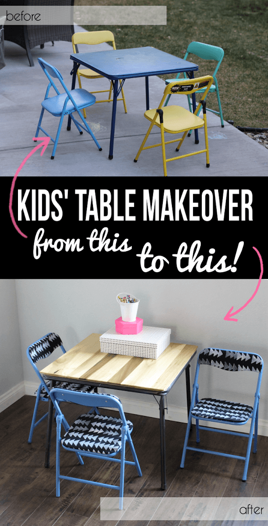 How cute! Take an old ripped vinyl kids table and turn it into a modern table set. Simple makeover - no power tools required. Kids Table Set Makeover