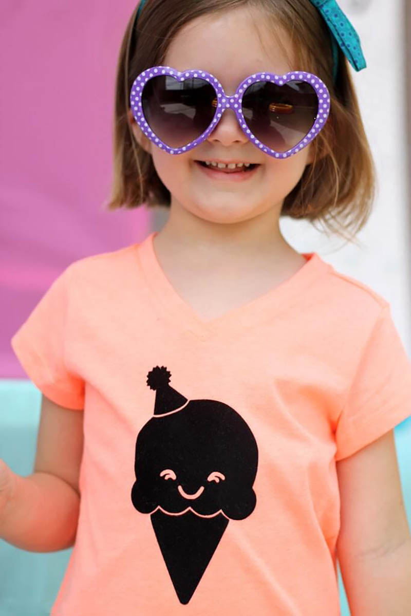 DIY happy ice cream cone shirt with free cut file
