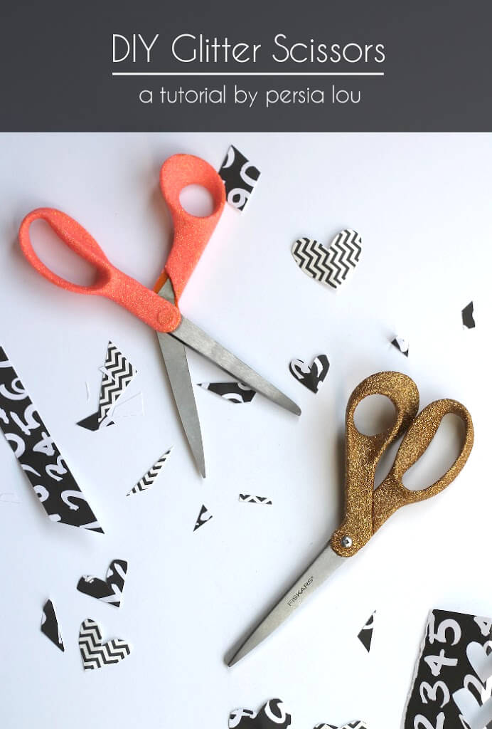 Give old scissors a sparkly makeover with mod podge and glitter!
