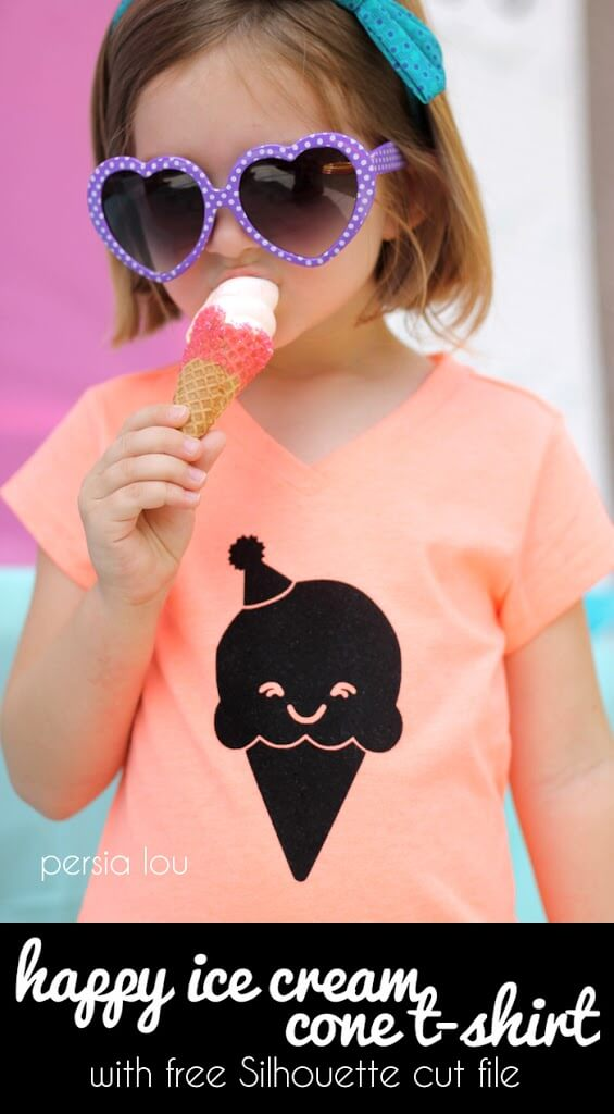 DIY Ice Cream Cone T-shirt - how cute is this kawaii ice cream cone? free silhouette cut file