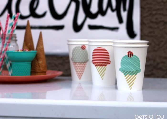 DIY Ice Cream Shop Freezer Decorations and Cups