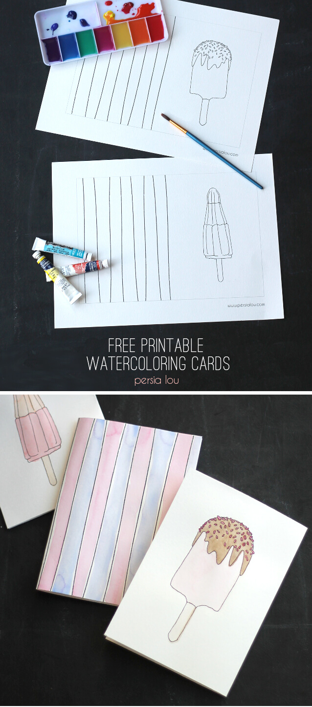 Free Printable Watercoloring Popsicle CardsPersia Lou