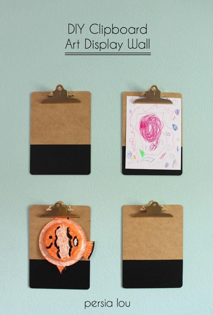 Clipboard Wall Art : Diy clipboard art display wall persia lou