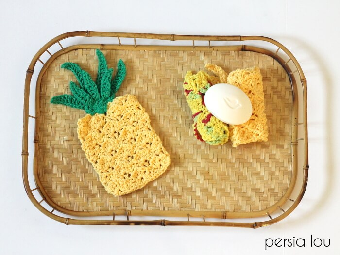 Crochet Pineapple Washcloth and Applique