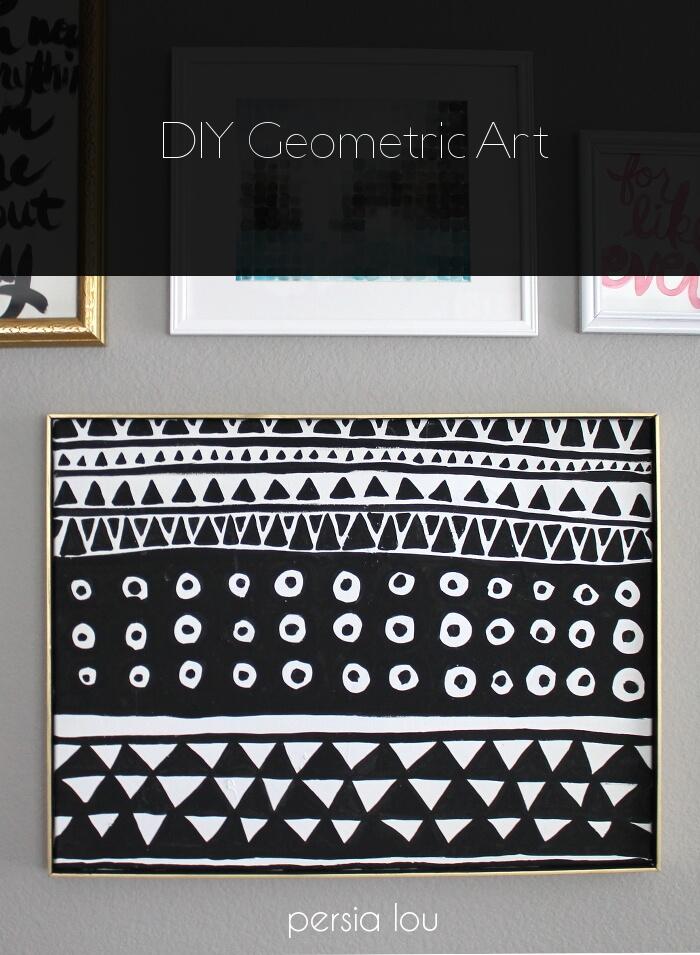 Diy black and white geometric art persia lou for Geometric wall art diy