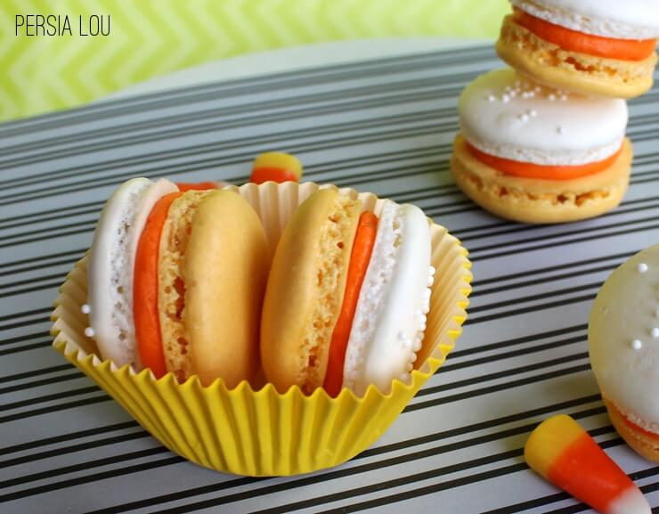 candy corn french macarons