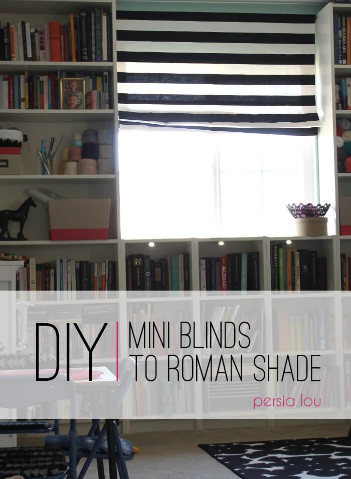 Diy mini blinds to roman shade persia lou diy mini blinds to roman shade solutioingenieria Images
