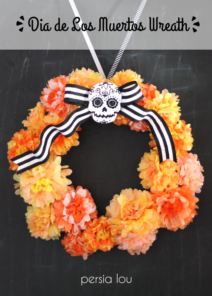 make your own dia de los muertos inspired wreath