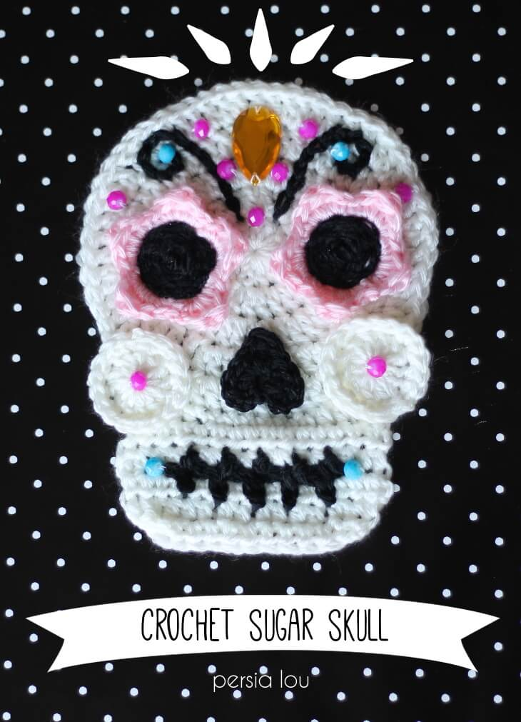 Halloween Crochet Pattern - Sugar Skull Applique