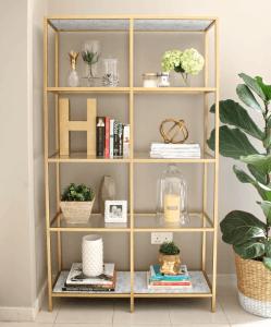 DIY-gold-bookshelf-REVEAL2- House of Hawkes