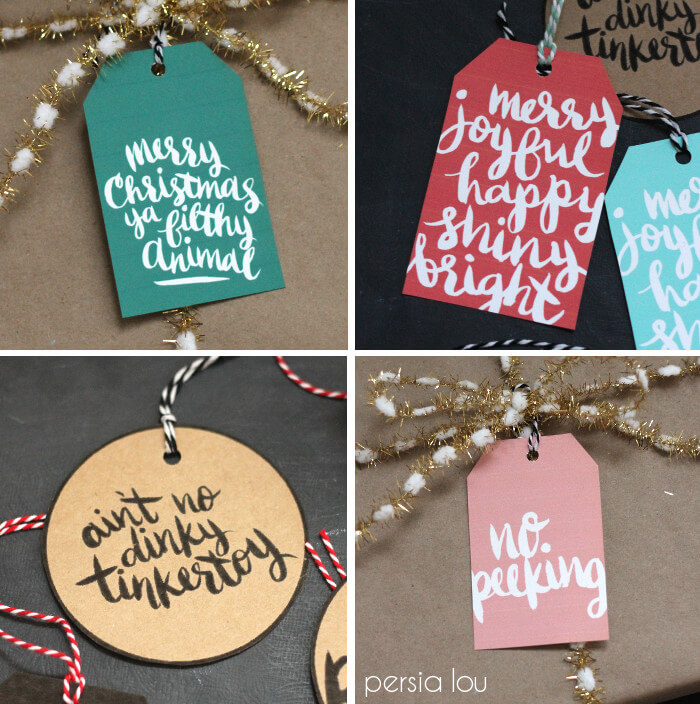 Printable Hand Lettered Christmas Tags Persia Lou