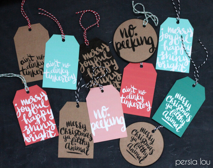 graphic regarding Printable Kraft Tags named Printable Hand-Lettered Xmas Tags - Persia Lou