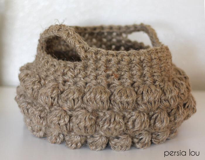 Jute Bobble Basket Free Crochet Pattern Persia Lou