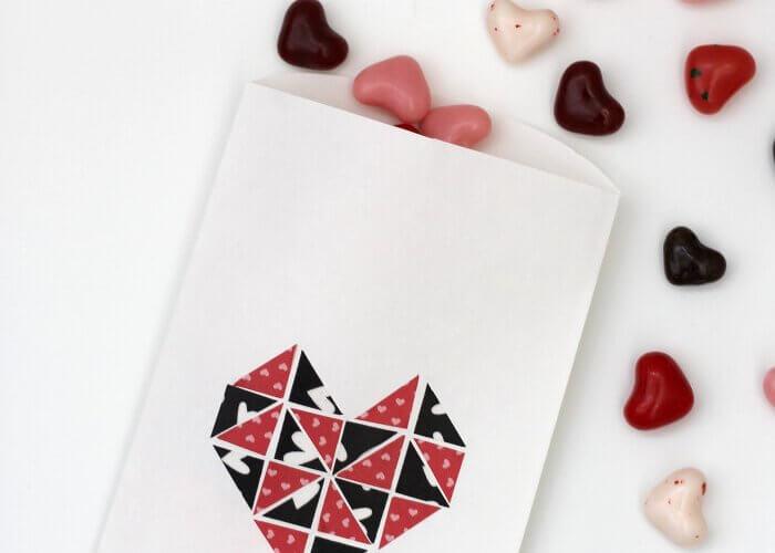 Simple Geometric Washi Heart Treat Bags