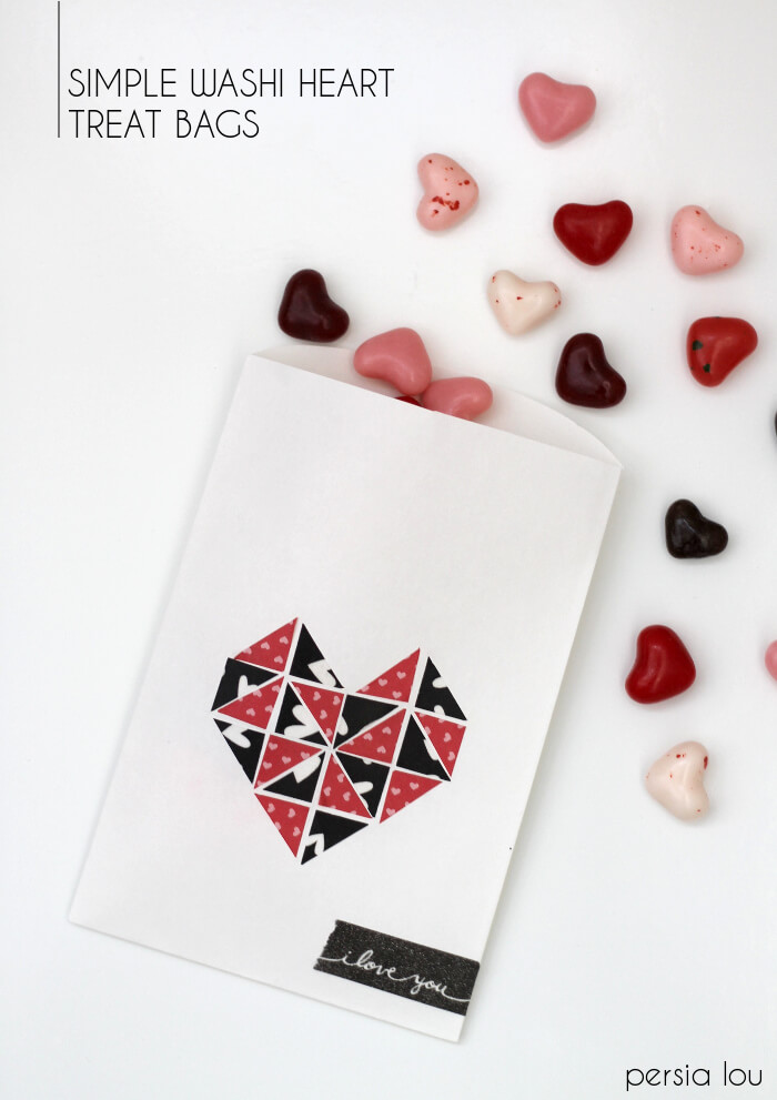 Make your own simple geometric washi heart treat bags for valentine's day