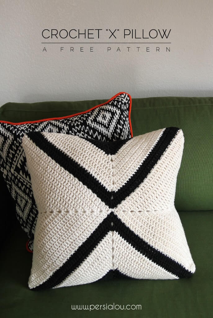 Crochet X Pillow Pattern by Alexis @ Persia Lou