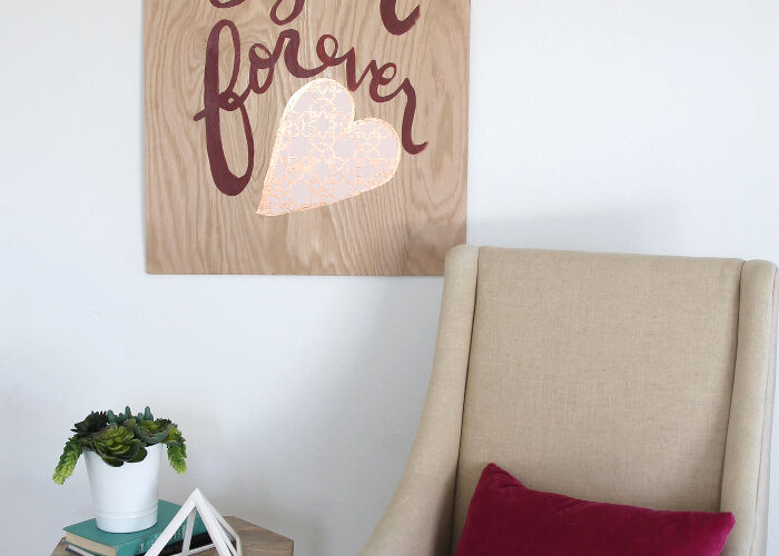 DIY Hand Lettered Plywood Sign