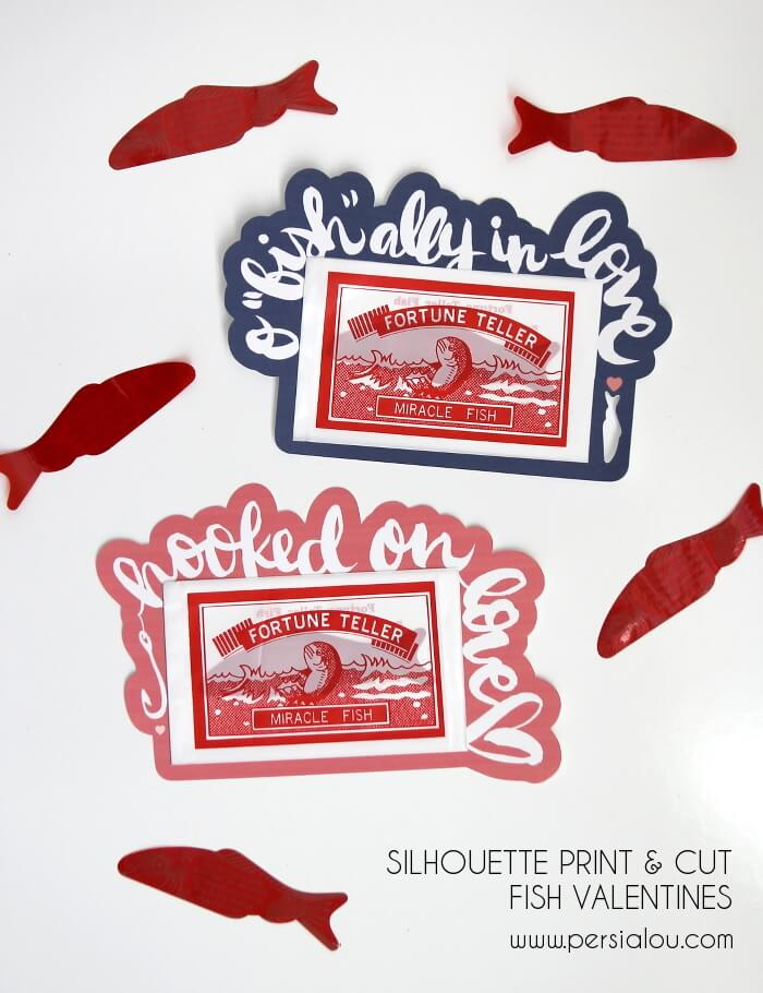 Silhouette Print and Cut Fish Classroom Valentines