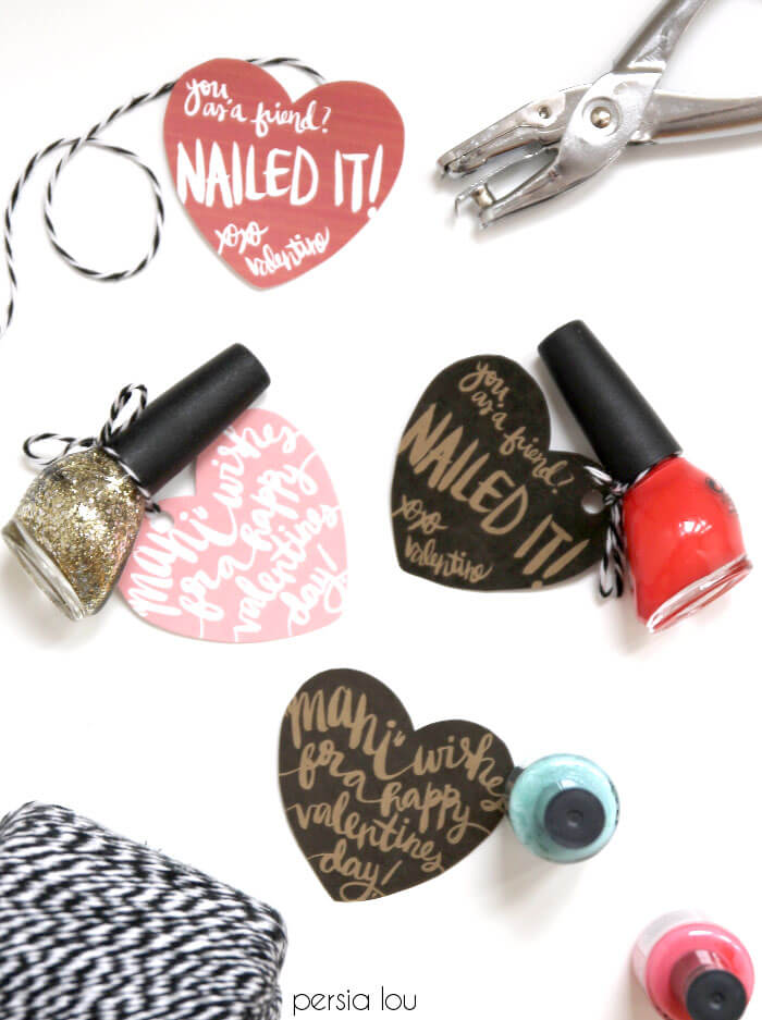 printable nail themed gift tags for valentines day