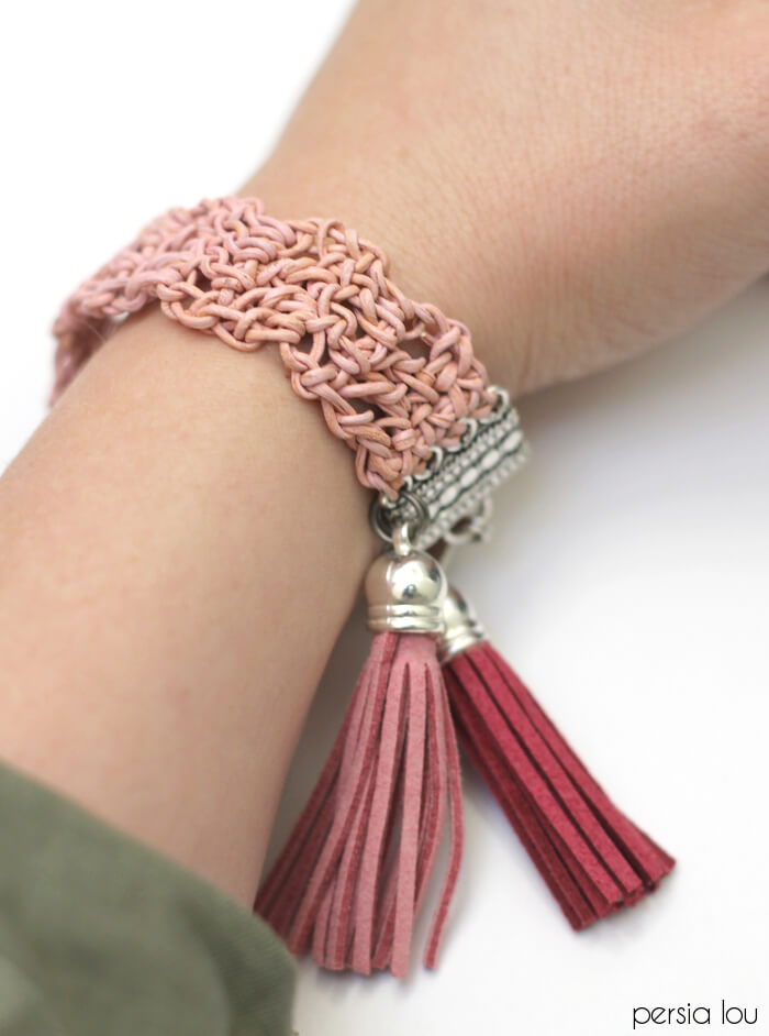 Crochet Leather Bracelet