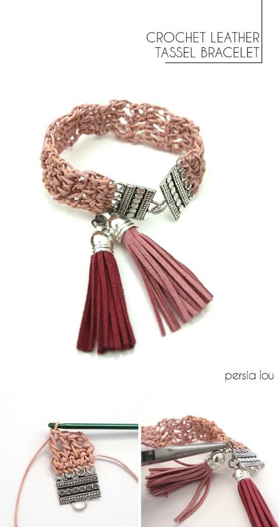 Make your own crocheted leather bracelet with tassels!