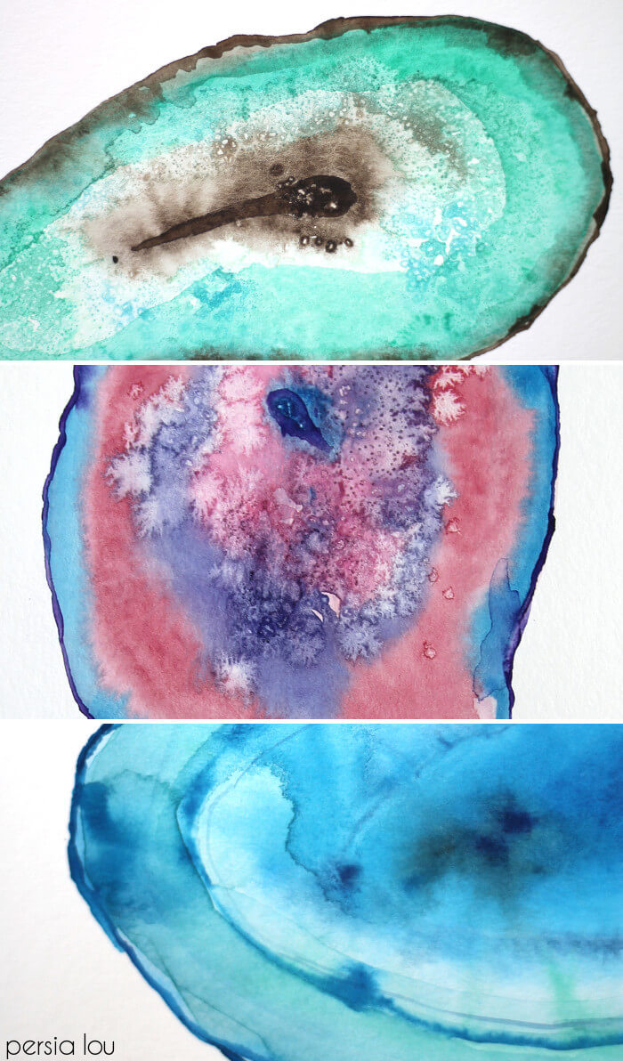 How To Paint Watercolor Agate Slices Persia Lou