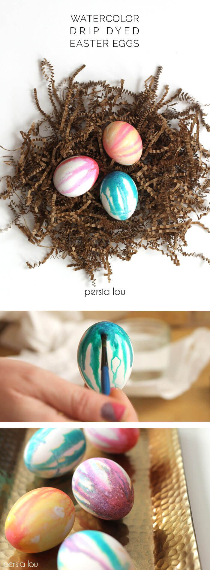 make your own watercolor drip dyed easter eggs with regular egg colors. Fun and pretty!