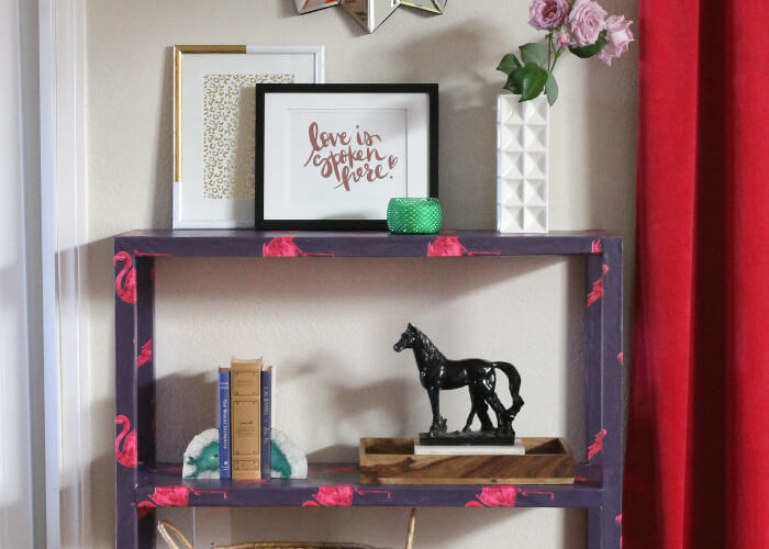 DIY Wallpaper Covered Console Table