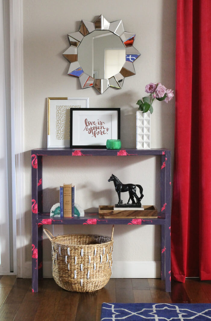 DIY Wallpaper Wrapped Console Table