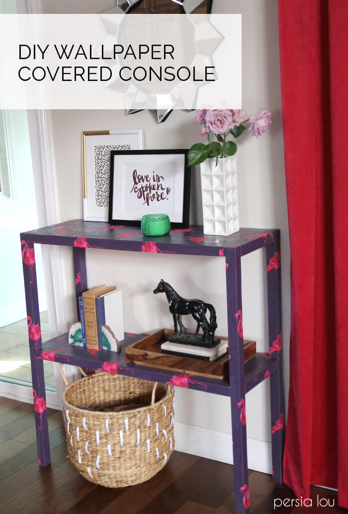 Make your own console table covered in fun wrapping paper! Complete DIY instructions